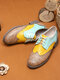 Women Retro Contrast Lace-up Almond Toe Flat Loafers Shoes - Apricot