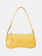 Women PU Alligator Shoulder Bag Handbag - Yellow