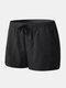 Mens Beach Board Shorts Waterproof Jogging Running Sports Breathable Gym Training Fitness Pants - Black