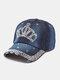 Women Denim Rhinestone Decorated Crown Pattern Broken Hole Casual Sunshade Baseball Caps - #05