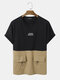 Mens 100% Cotton Two Tone Patchwork Letter Embroidery Double Pocket T-Shirt - Black