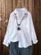 Flower Embroidery Button Front Plus Size Long Sleeve Shirt - White