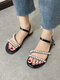 Women Solid Color Casual Holiday Pearl Inlay Buckle Antiskid Stripe Sandals - Black