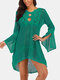 Women Hollow Knitted See Through Sun Protection Long Sleeve Cover Up - Green