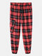 Mens Classical Plaid Print 100% Cotton Casual Jogger Pants - Red