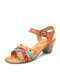 SOCOFY Ethnic Colorblock Cross Strap Splicing Printed Genuine Leather Hook Loop Comfy Chunky Heels Sandals - Yellow