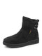 Women Snow Boots Round Toe Solid Color Casual Warm Short Cotton Boots - Black