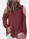 Solid Color Off-shoulder Long Sleeves Casual Blouse for Women - Rust red