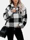 Женский плед с принтом на молнии спереди утолщенный свободный повседневный свитер - Черный