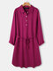 Solid Color Button Pocket Waistband Long Sleeve Casual Dress for Women - Wine Red