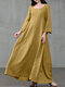 Solid Color A-Line Long Sleeve Maxi Cotton Loose Dress - Yellow