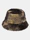 Women & Men Felt Lamb Fur Tie-dye Plus Thicken Warm Windproof Soft Bucket Hat - Black