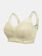Women Lace Trims Wireless Full Cup Emulsion Lightly Lined Bra - Nude