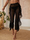 Women Mesh Sheer Layered Design Cropped Pants Cover Up Black Swimsuit - Black