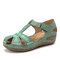 LOSTISY Plus Size Embroidered Hollow Out Flower Hollow Out Summer Fisherman Sandals - Green