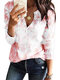 Tie-dye Long Sleeve Notched Neck T-shirt For Women - Pink