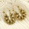 Vintage Geometric Metal Hollow Flower Big Earring Ethnic Water Drop Hollow Sunflower Stud Earrings - Gold