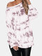Tie Dye Long Sleeve O-neck Slit Hem Sweatshirt For Women - Purple