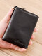 Men Genuine Leather RFIID Multi-slots Retro Large Capacity Foldable Card Holder Wallet - Black