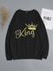 Crown Letters Print O-neck Loose Casual Sweatshirt For Women - Black