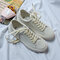 Women Comfy White Shoes Lace Up Front Flat Court Sneakers - Beige