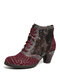 SOCOFY Retro Genuine Leather Splicing Embossed Rose Lace Up Zipper High Heel Ankle Boots - Wine Red