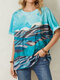 Landscape Print Loose O-neck Short Sleeve Casual T-Shirt For Women - Blue