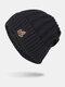男性冬Plusベルベット刺繡葉縞模様屋外ニット暖かいビーニー帽子 - 黒