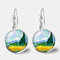 Vintage Geometric Round Oil Painting Series Earrings Metal Glass Gem Daisy Pendant Ear Clips - 11