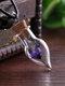 Vintage DIY Dried Flowers Women Necklace Small Daisy Drop-Shaped Drift Bottle Pendant Necklace - Purple