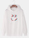 Mens Reflective Bright Smile Face Print Drawstring Overhead Hoodies - White