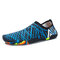 Men Slip On Stretch Knitted Fabric Quick Dry Outdoor Upstream Water Shoes - Black Blue