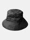 Unisex Denim Wide Brim Long Strap Tie Fashion Sunshade Bucket Hat - Black