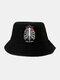 ユニセックス コットン ソリッド カラー レター スケルトン ローズ プリント ファッション オール マッチ バケット ハット - 黒