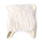 Women Mohair Solid Color Hats Cute Cap Winter Warm Windproof Fashion Bucket Cap With Cat Ear - White