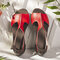 Large Size Women Open Toe Solid Color Flat Beach Sandals - Red