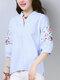 Estampado de rayas bordado con cuello en V Plus Talla Manga de linterna Camisa - azul
