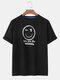 Mens Smile Face Checkered Print Loose Cotton Short Sleeve T-Shirts - Black