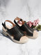 Women Comfy Open Toe Hollow Out Slingback Buckle Chunky Heel Sandals - Black