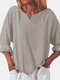 Solid Color Cotton V-neck Loose Long Sleeve Casual Blouse for Women - Gray