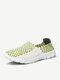 Men Women Lover White Color Match Handmade Knitting Slip On Flat Outdoor Sport Shoes - Green