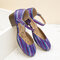 LOSTISY Casual Large Round Toe Buckle Strap Chunky Heel Pumps - Purple