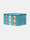 1 PC 65L Sterilization Portable Bamboo Charcoal Can See Through Three Compartments Clothing Storage Box Folding Bag - Blue