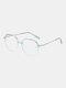 Unisex Oval Full Frame Flat-light Fashion Simple Glasses - #03