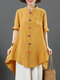 Solid Color Frog Button Long Sleeve High-low Hem Stand Collar Blouse - Yellow