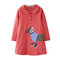 Girls Cartoon Puppy Knitting Embroidery Casual Dress For 1-9Y