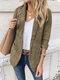 Einfarbiger Langarm-Reverskragen-Taschenblazer für Damen - Khaki
