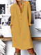 Cotton Solid Color Button V-neck Plus Size Casual Dress - Yellow
