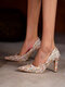 Pointed Toe Knitting Wool Design Party Fashion Heels - Beige