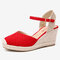 LOSTISY Women Wedges Buckle Strap Ankle Espadrilles Sandals - Red